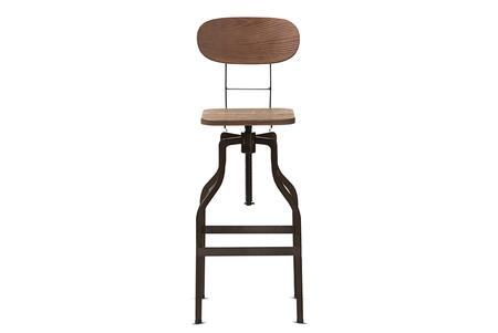 Varek Collection T-14014-RUST-BS Bar Stool with Adjustable Height  Swivel Seat  Curved Backrest  Footrest Support  Industrial Style  Bamboo Seat and