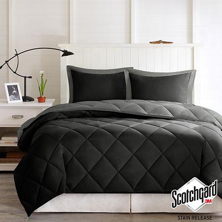 Madison Park Essentials Larkspur Microfiber Reversible Down Alternative Comforter Set, One Size , Gray