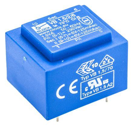 Block 6V ac 2 Output Through Hole PCB Transformer, 1.5VA