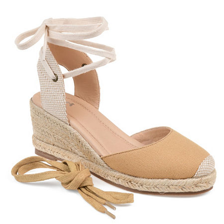 Journee Collection Womens Monte Lace-up Round Toe Espadrille Wedge, 11 Medium, Brown