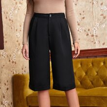 Rolled Hem Pleated Straight Shorts