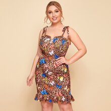 Plus Knot Shoulder Ruffle Hem Leopard & Butterfly Print Dress