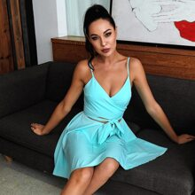HouseOfChic Neon Blue Cut Out Belted Cami Dress
