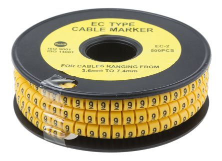 RS PRO Slide On Cable Marker, Pre-printed 9 Black on Yellow 3.6 → 7.4mm Dia. Range