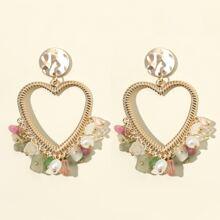 Stone Decor Heart Drop Earrings