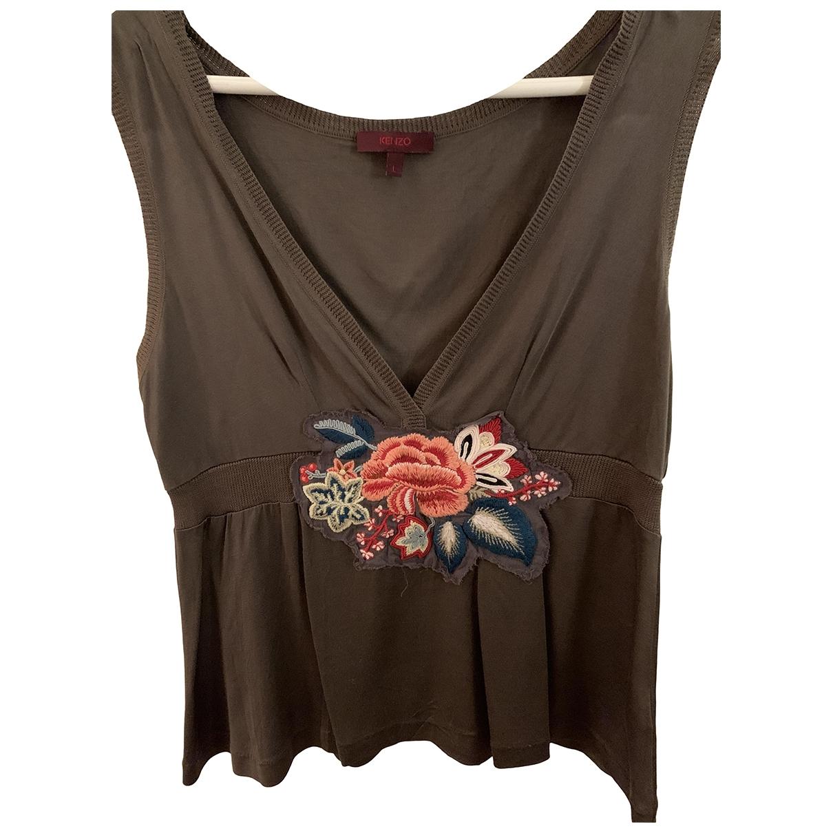 Kenzo - Top   pour femme en soie - kaki