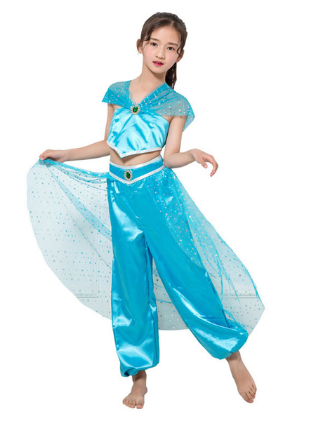 Milanoo Child Aladdin Cosplay Aqua Tulle Rhinestone 2 Piece Kids Costumes Wears Halloween