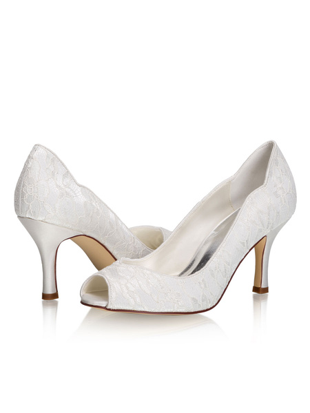 Milanoo Wedding Shoes Ivory Lace Peep Toe Stiletto Heel Bridal Shoes