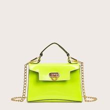 Neon Green Metal Lock Satchel Bag