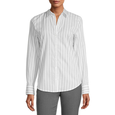 Worthington Womens Long Sleeve Modern Fit Button-Down Shirt, Small , White