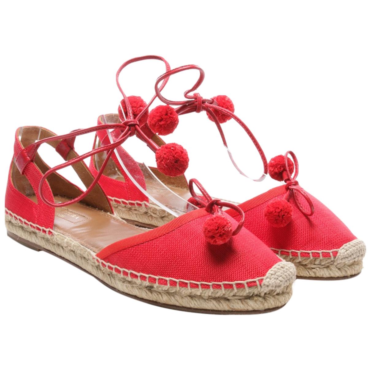 Aquazzura - Espadrilles   pour femme en toile - rouge