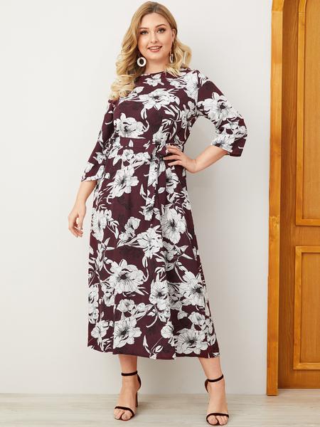 Yoins Plus Size Burgundy Belt Design Random Floral Print Dress