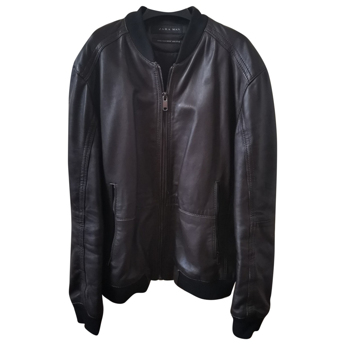 Zara \N Brown Leather jacket  for Men XL International
