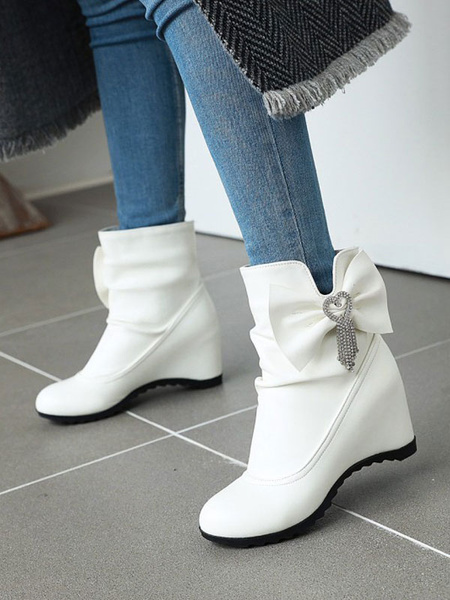 Milanoo Sweet Lolita Boots Bows Round Toe PU Leather Wedge Lolita Footwear