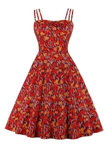 Milanoo Vestido vintage de los años 50 rojo sin mangas con tirantes cuello estampado floral arcos vestido de swing rockabilly
