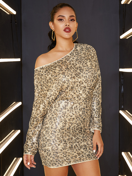 YOINS Sequins Leopard One Shoulder Long Sleeves Dress