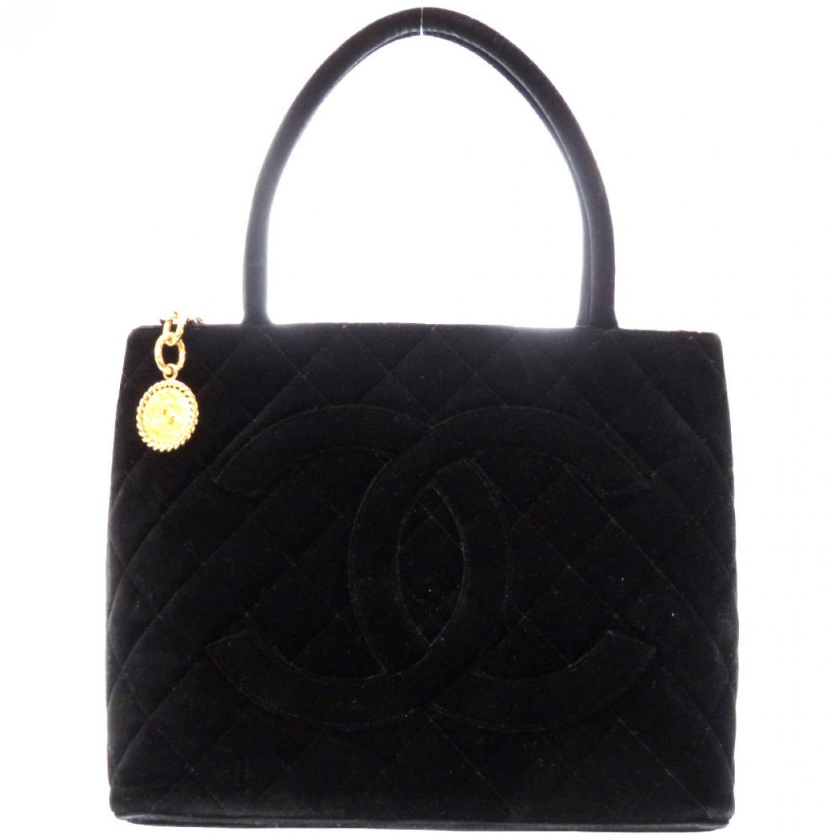 Chanel - Sac a main Medaillon pour femme en toile - noir