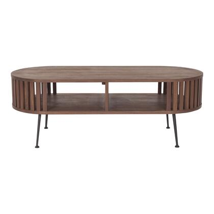 Henrich Collection YC-1025-21 Coffee Table with Walnut Veneer Top and Shelf in Brown
