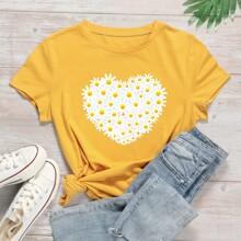 T-Shirt mit Blumen Muster und rundem Ausschnitt