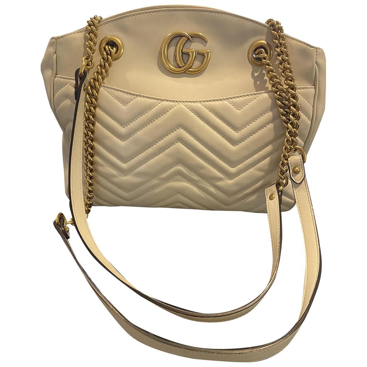 Gucci Marmont Handtasche in  Beige Leder
