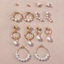 7pairs Faux Pearl Decor Earrings