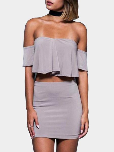 Yoins Grey Crop Top & Skirt With Off Shoulder