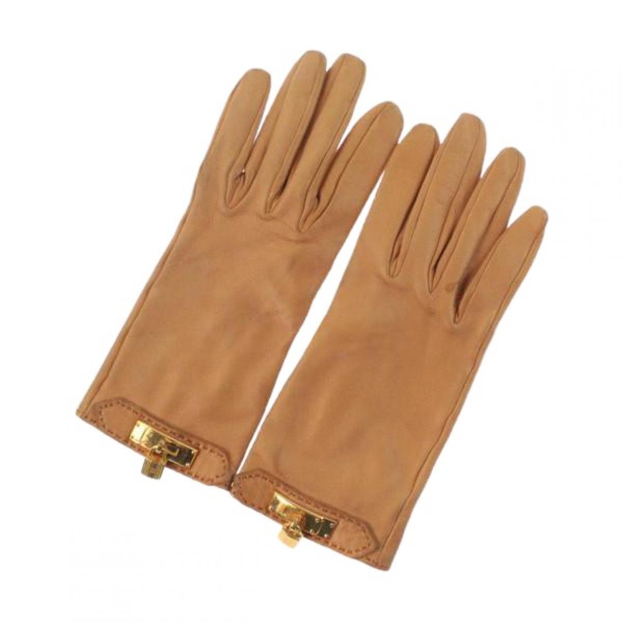 Hermès \N Beige Leather Gloves for Women M International