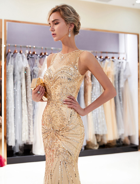 Milanoo Mermaid Evening Dresses Light Gold Beaded Prom Dress Sleeveless Luxury Formal Gowns With Train