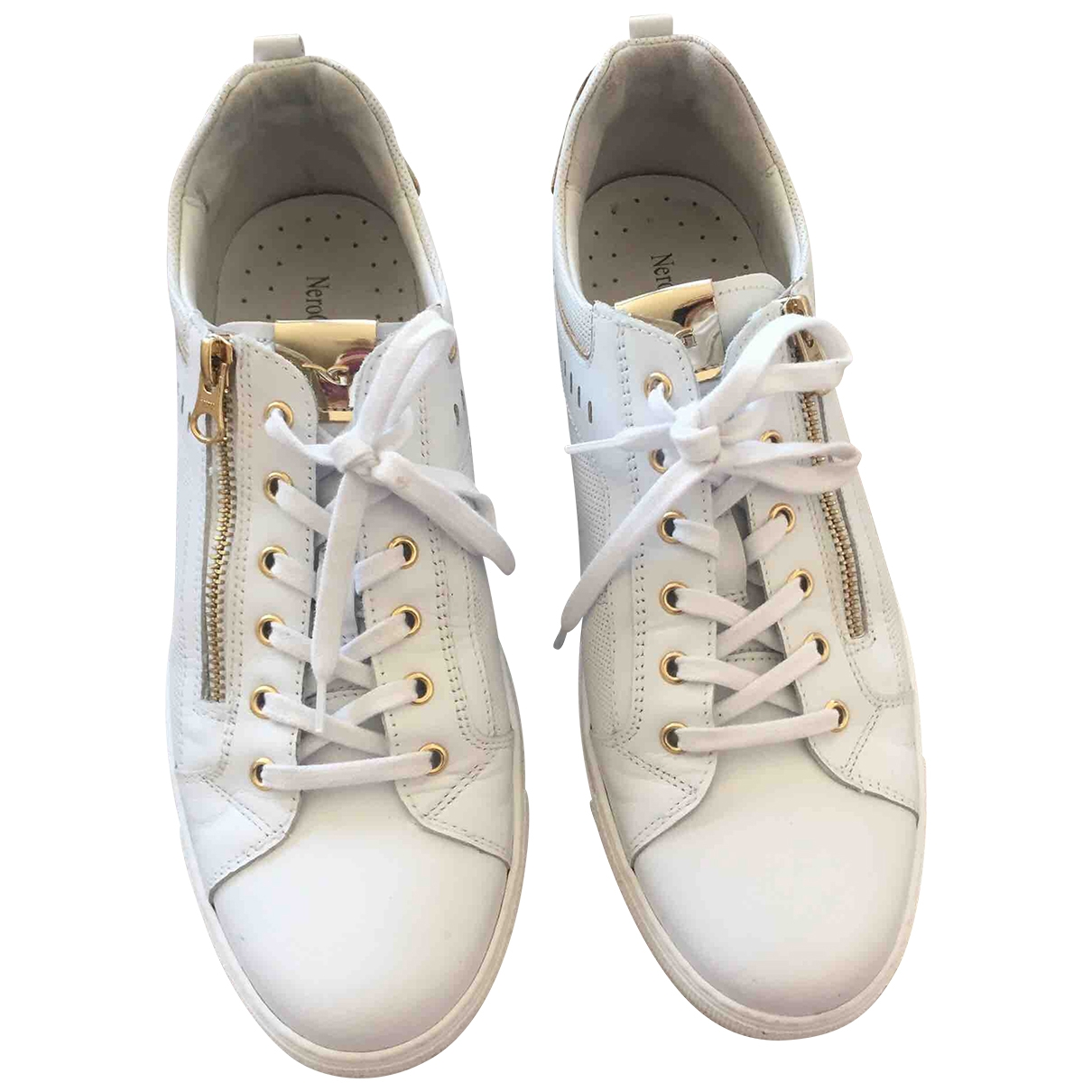 - Baskets   pour femme en cuir - blanc