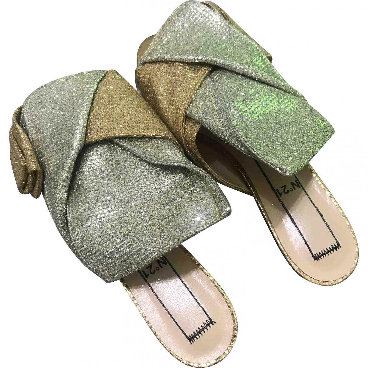 N°21 \N Gold Glitter Sandals for Women 37.5 EU