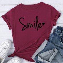 T-Shirt mit Buchstaben und Herzen Grafik