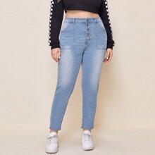 Plus Button Front Washed Jeans