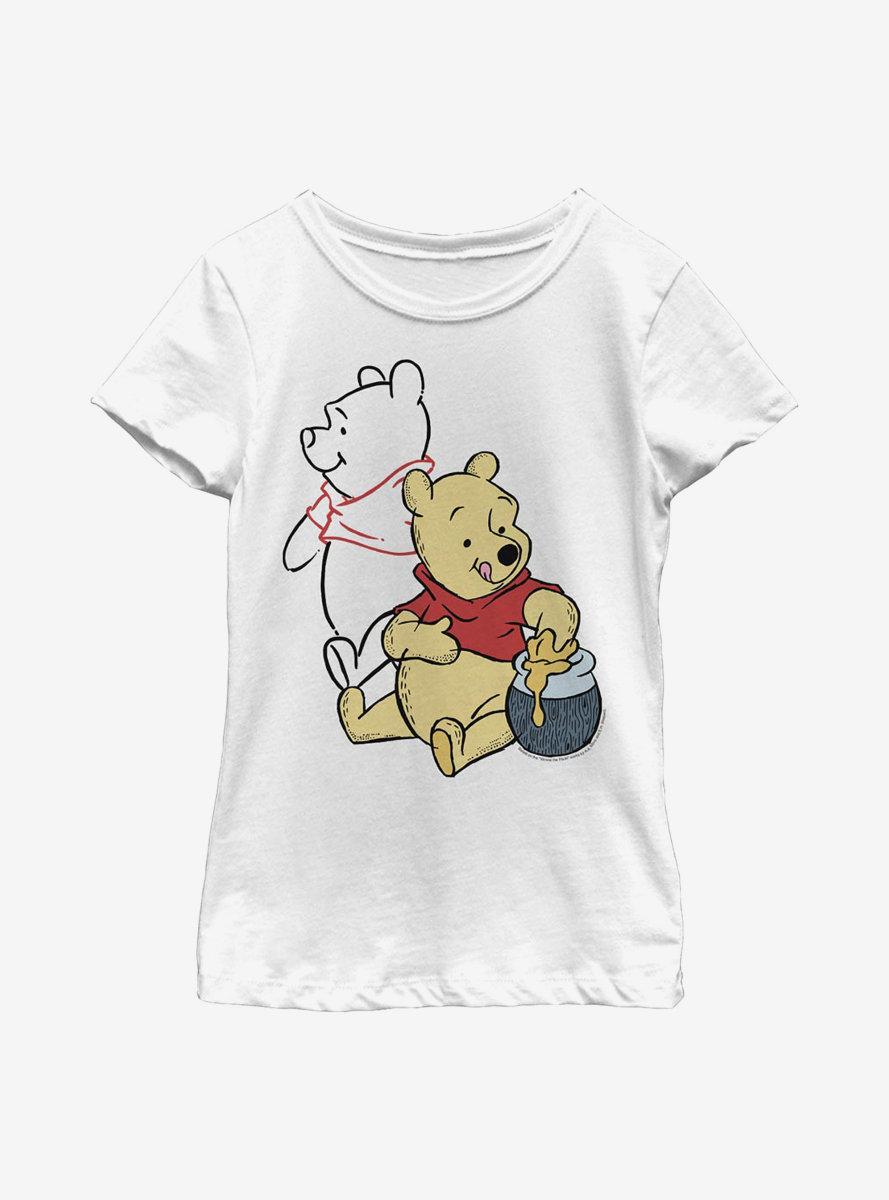 Disney Winnie The Pooh Line Art Youth Girls T-Shirt