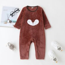 Baby Boy Cartoon Embroidery Flannel Jumpsuit