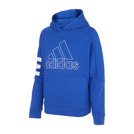 adidas Big Boys Cuffed Sleeve Hoodie, Medium (10-12) , Blue