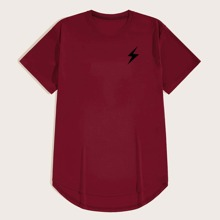 T-Shirt mit Blitz Muster und Stufensaum