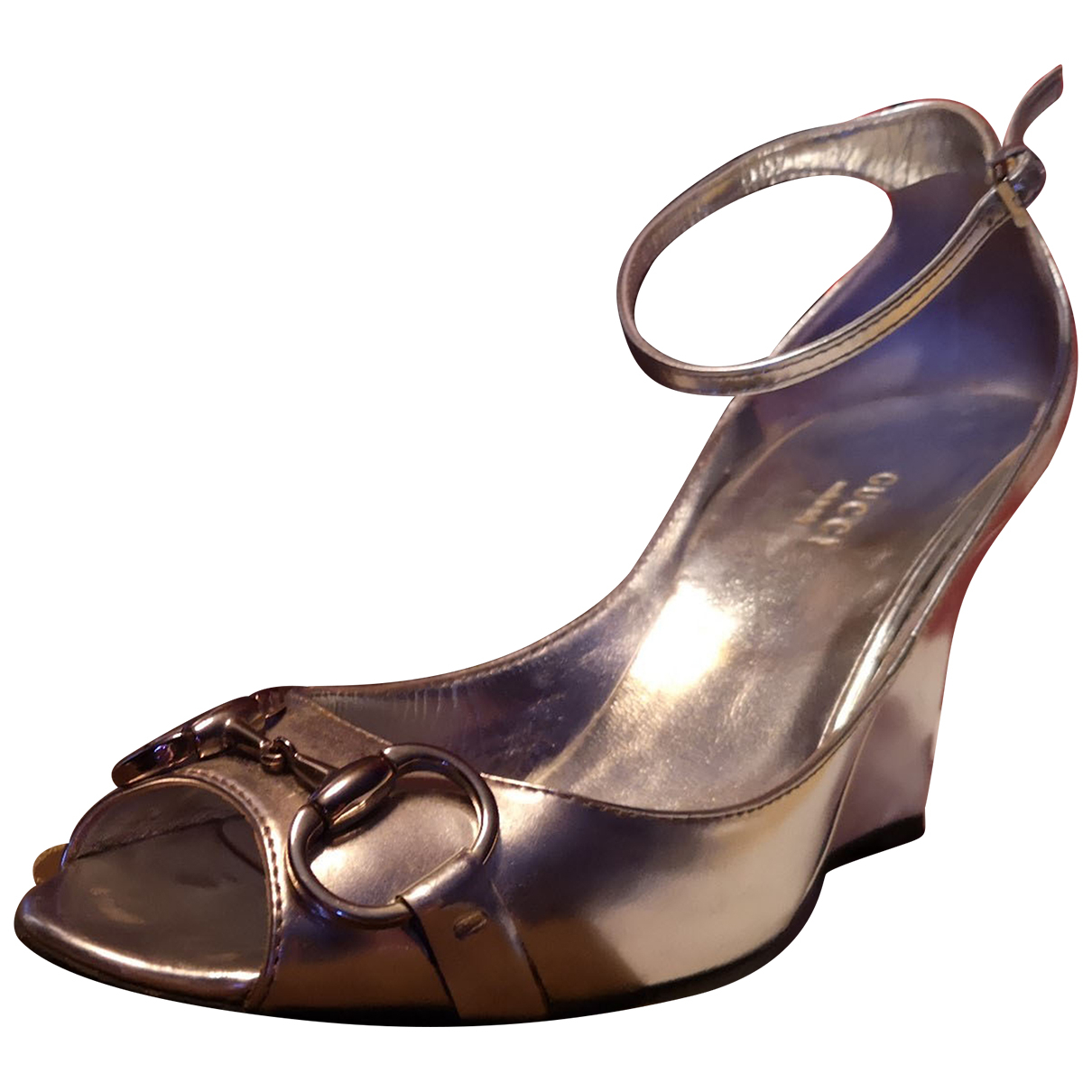 Gucci N Metallic Patent leather Sandals for Women 37 EU