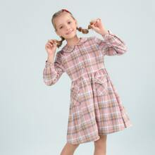 Girls Flap Pocket Button Placket Plaid Smock Dress