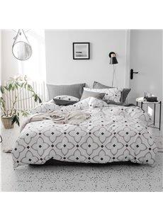 Geometry Simple Style 4Pcs Cotton Bedding Sets Durable Soft Zipper White Duvet Cover