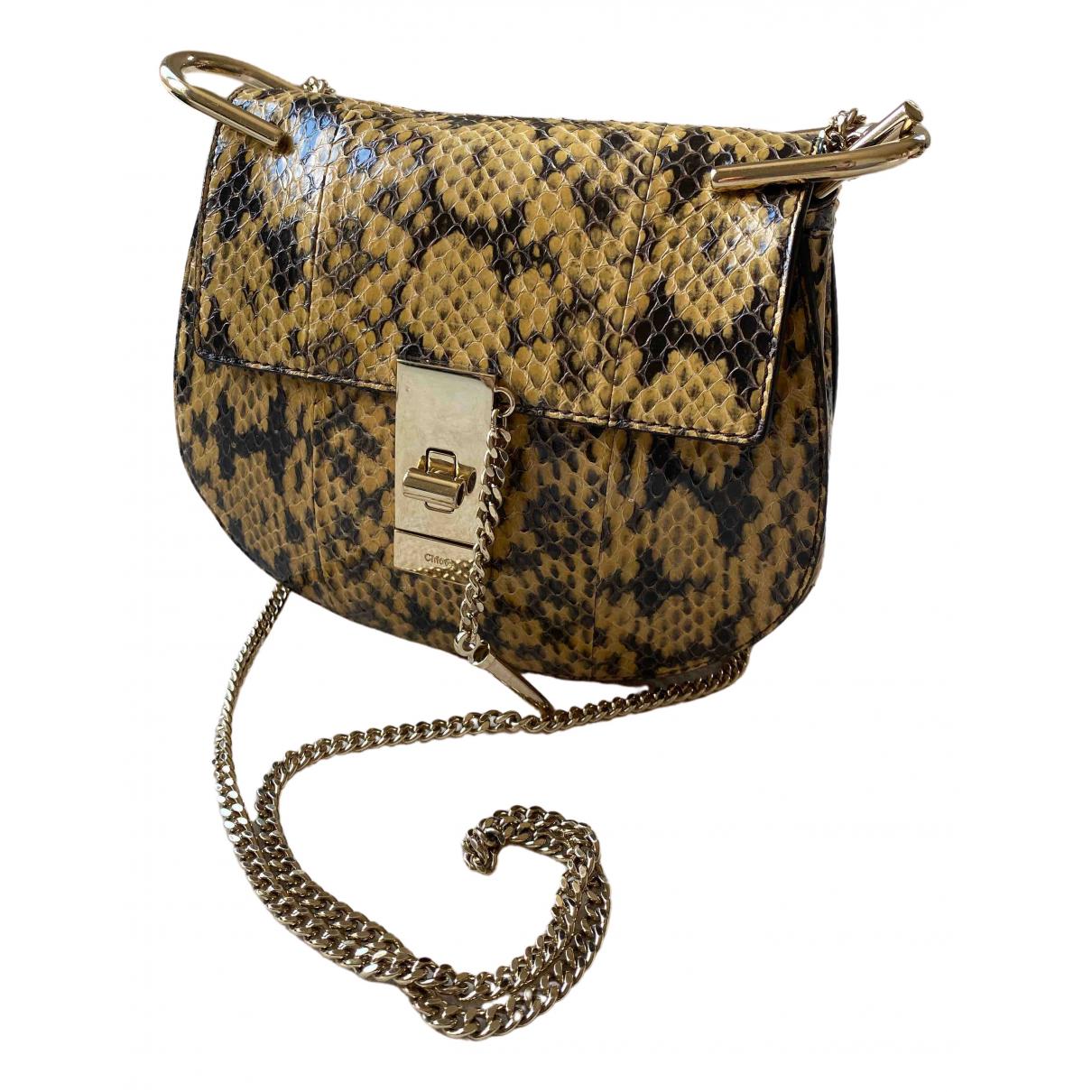 Chloe Drew Handtasche in  Beige Python