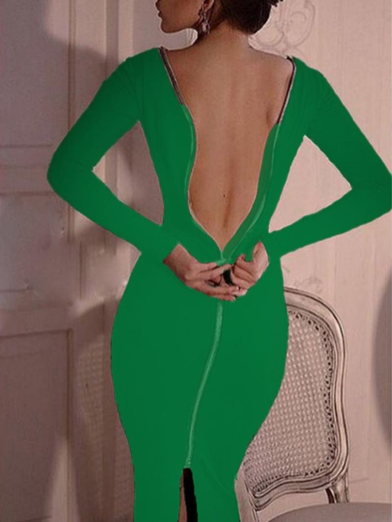 Ericdress Round Neck Zipper Mid-Calf Bodycon Plain Dress
