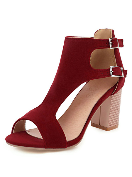 Milanoo High Heel Sandals Womens Peep Toe T-strap Double Buckles Chunky Heel Sandals