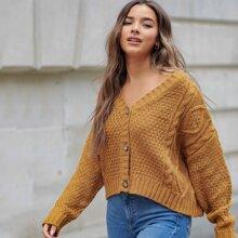 Drop Shoulder V-neck Cable Knit Cardigan
