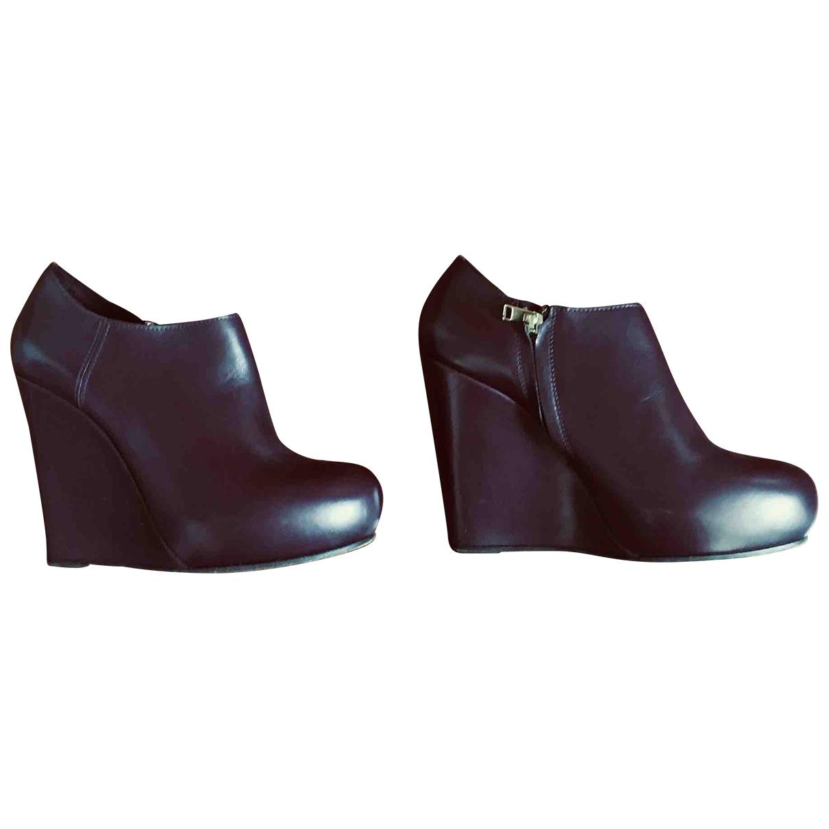 Marni - Boots   pour femme en cuir - bordeaux