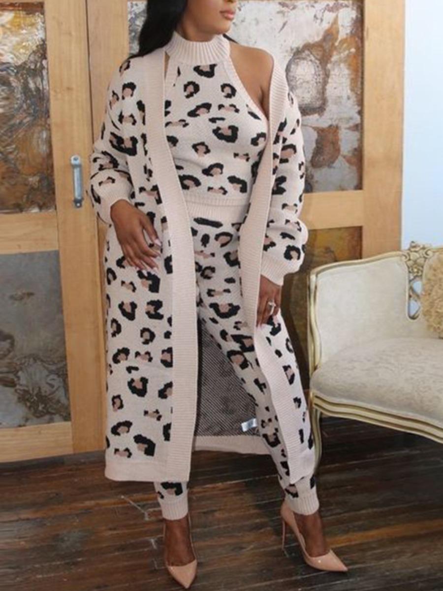 LW lovely Trendy Leopard Print Beige Cardigan