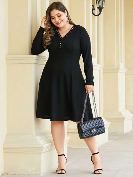 YOINS Plus Size Black V-neck Long Sleeves Dress