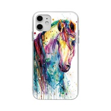 iPhone Huelle mit Regenbogen Pferd Muster