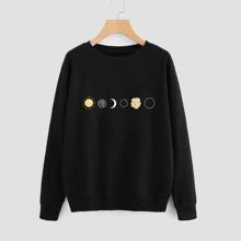 Sudadera de hombros caidos con estampado de sol y luna