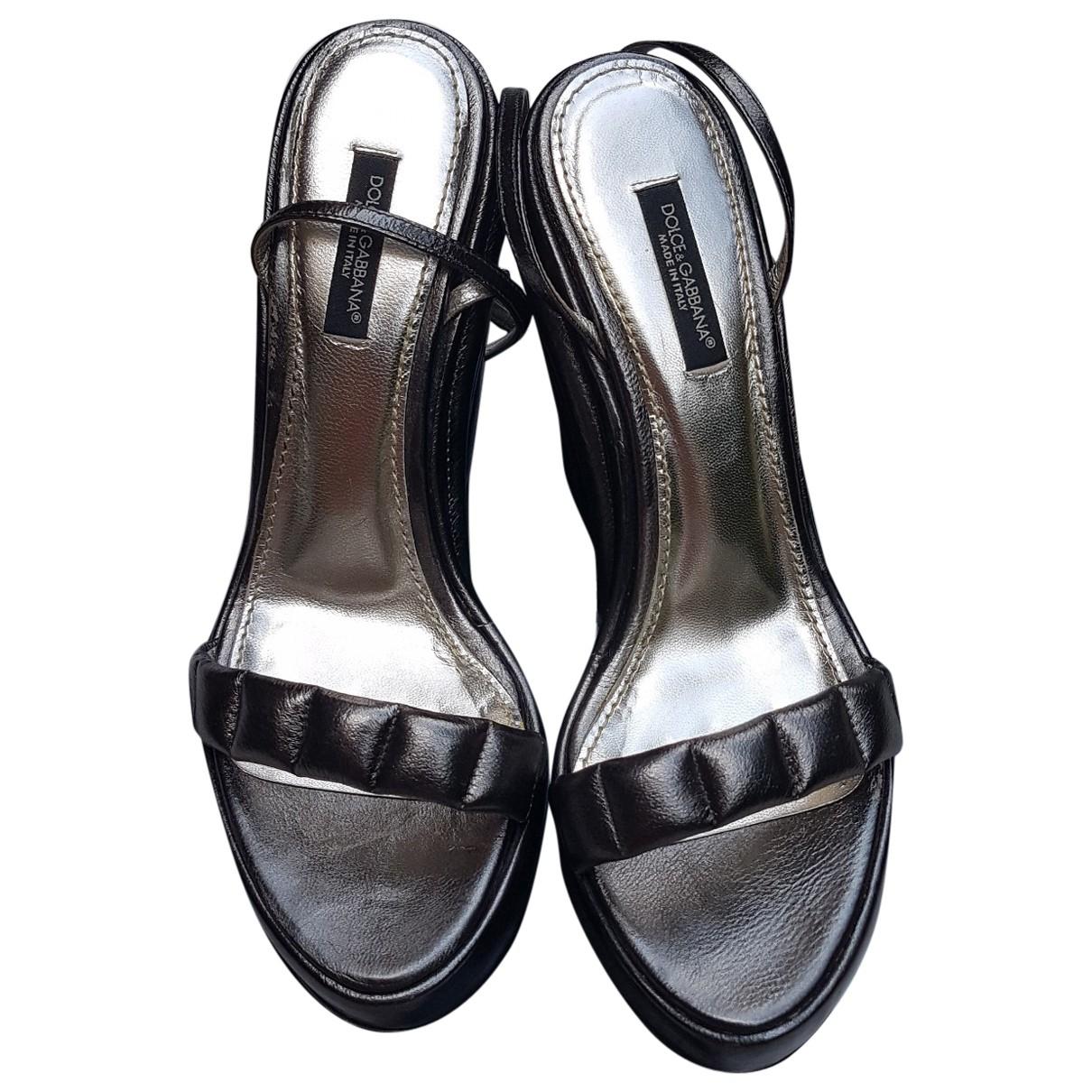 Dolce & Gabbana \N Grey Leather Sandals for Women 38 EU