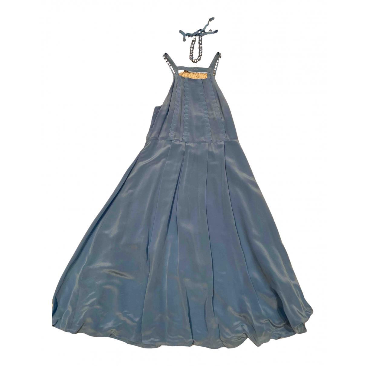 Claudie Pierlot - Robe Spring Summer 2019 pour femme en soie - bleu